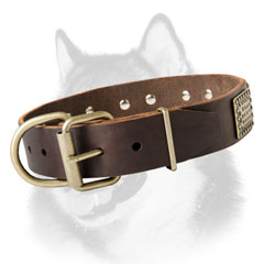 Brass fittings of leather dog collar for Siberian Husky