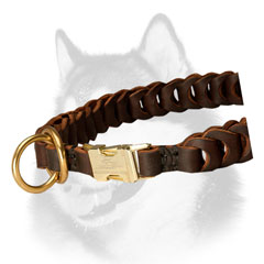 Brass hardware of leather dog collar for Siberian Husky