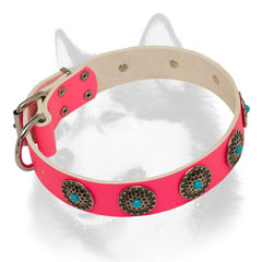 Fashion pink leather dog collar for Siberian Husky