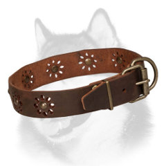 Leather dog collar for Siberian Husky with flowers
