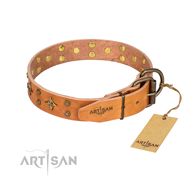 Handy use full grain genuine leather collar with decorations for your pet
