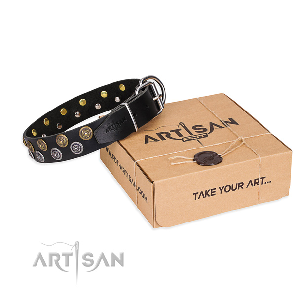 Genuine leather dog collar with decorations for everyday walking