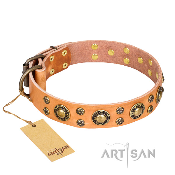 Exquisite natural genuine leather dog collar for walking