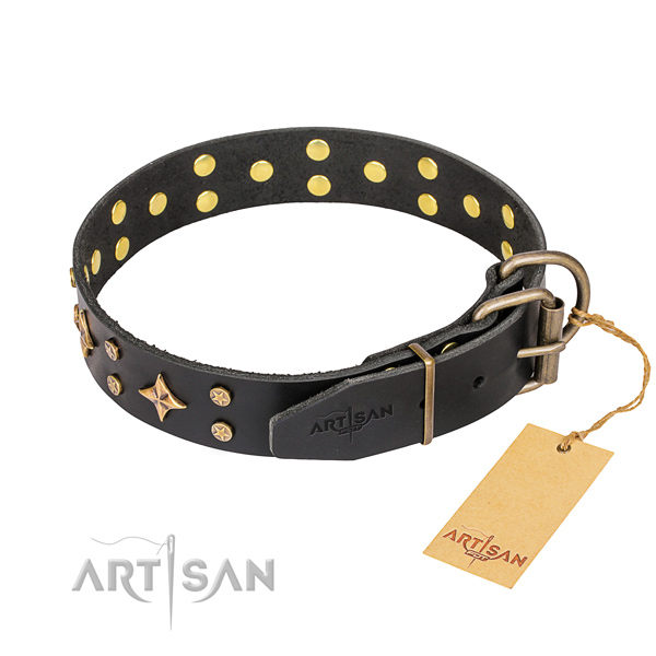 Handy use leather collar with adornments for your pet