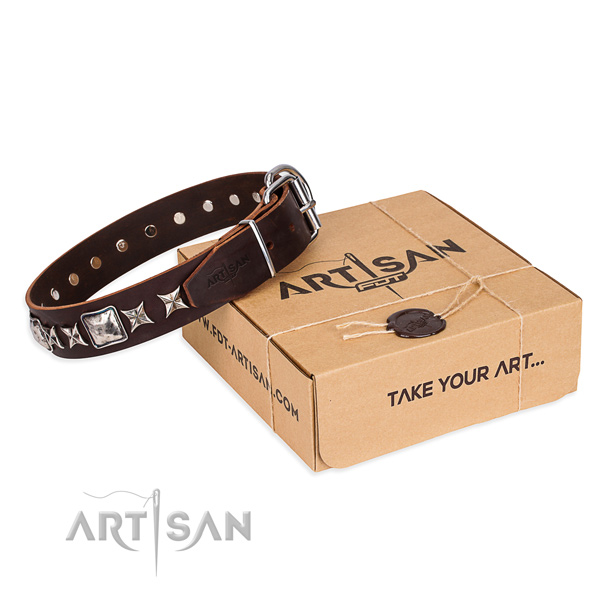 Decorated leather dog collar for handy use