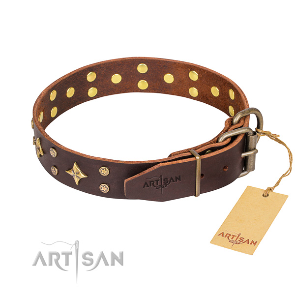Handy use leather collar with studs for your dog