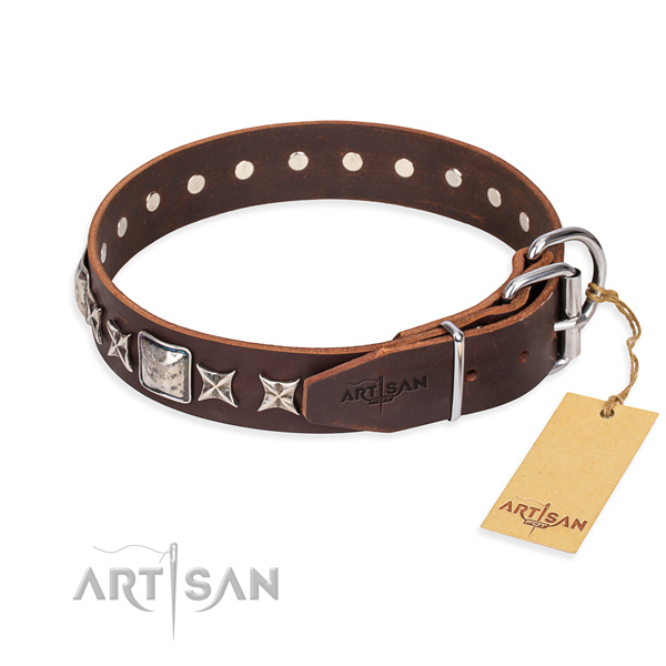 Daily use genuine leather collar with studs for your four-legged friend