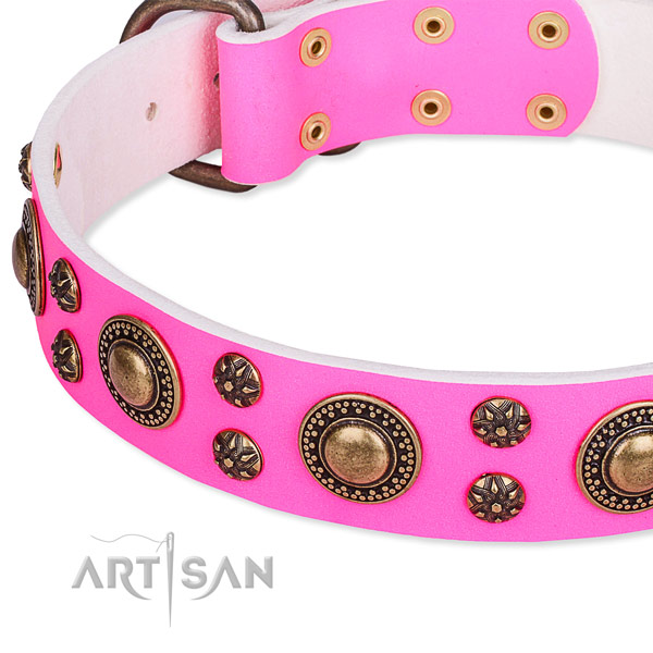 Natural genuine leather dog collar with remarkable decorations