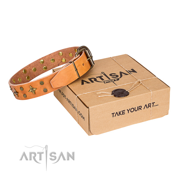Decorated natural genuine leather dog collar for stylish walks