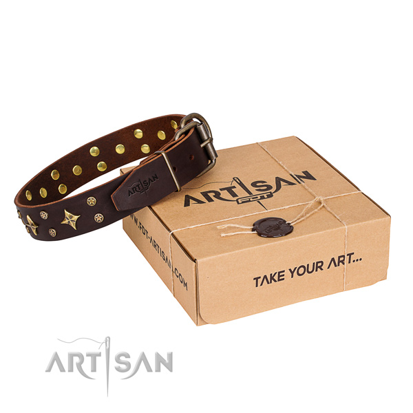 Studded natural genuine leather dog collar for comfy wearing