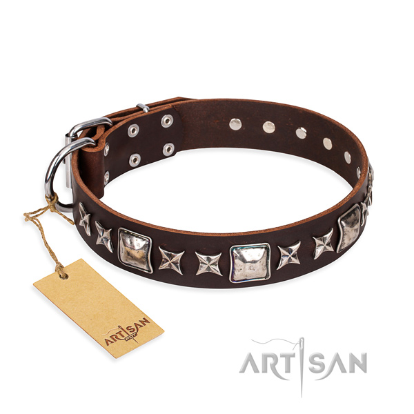 Inimitable natural genuine leather dog collar for stylish walking