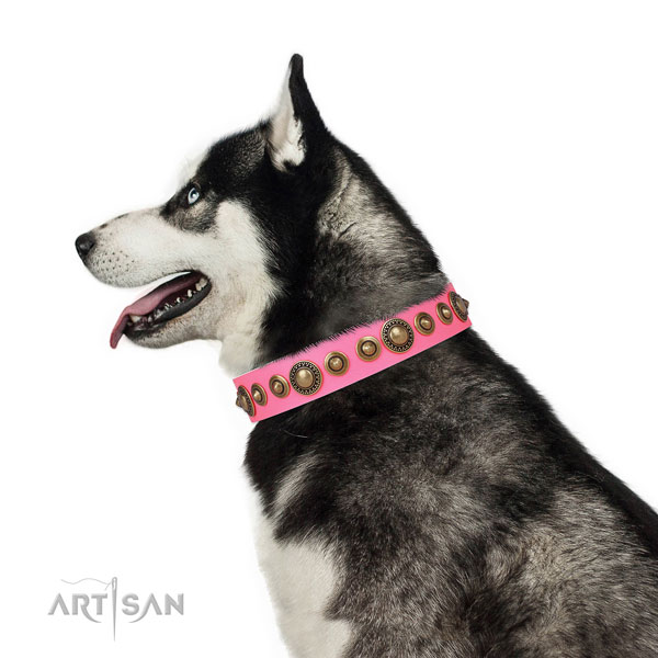 Strong buckle and D-ring on natural leather dog collar for daily walking