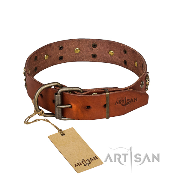 Long-wearing leather dog collar with rust-proof elements