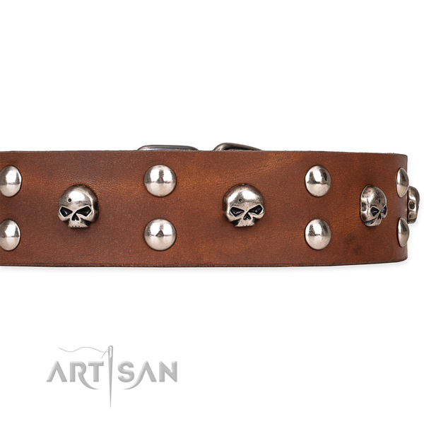 Genuine leather dog collar with smooth finish
