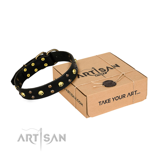 Resistant leather dog collar with durable details