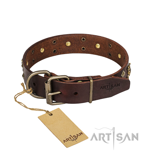 Leather dog collar with rounded edges for comfy daily use