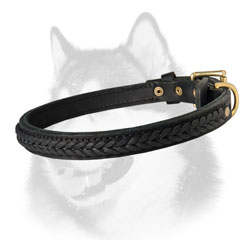 Siberian Husky leather dog collar for walking in style