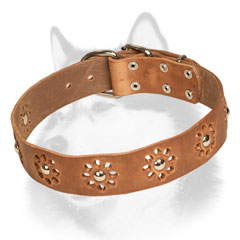 Handmade leather Siberian Husky collar for daily walking