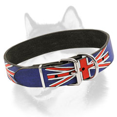 Siberian Husky leather collar with nickel plated steel