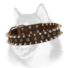 Siberian Husky leather dog collar gladiator style