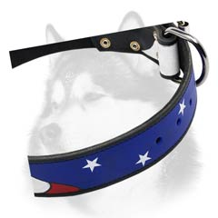 Siberian Husky leather dog collar painted with buckle closure
