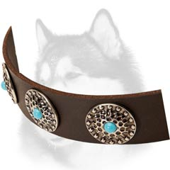 Soft-leather-collar-with-circles decoration