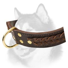 Walking in style leather collar for Husky