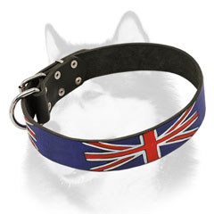 Lleather dog collar for Siberian Husky with Union Jack painting
