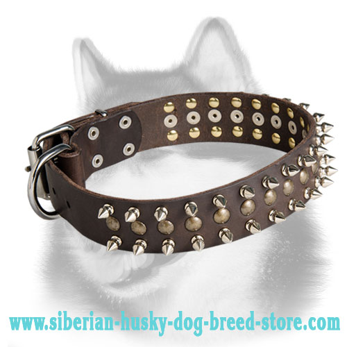 Spiked & Studded Leather Dog Collars for Siberian Husky