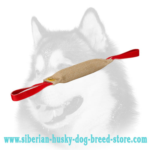 Siberian Husky Training Tug Made of Jute with Handle - Click Image to Close