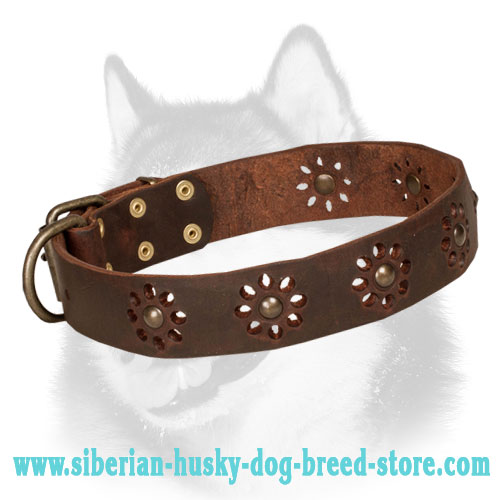 High Quality Dog Collars with blue stones Siberian Husky