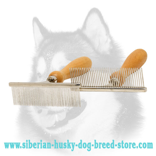 """Hair Designer"" Siberian Husky Comb with Wooden Handle"