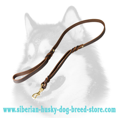 Quality leather dog leash for Siberian Husky