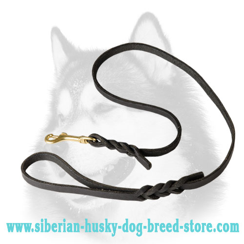Braided handcrafted leather Siberian Husky leash