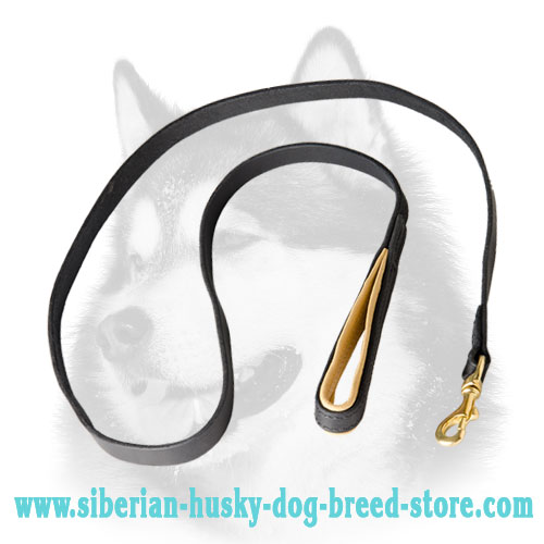 Leather dog leash for Siberian Husky training