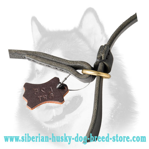Floating brass O-ring and stopper of Siberian Husky leather leash collar