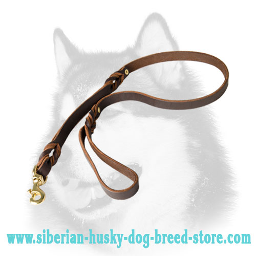 Multitasking leather Siberian Husky lead with two handles