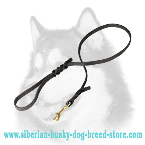 Soft leather Siberian Husky leash