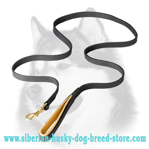 Leather Siberian Husky leash with support material