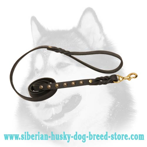 Siberian Husky leather dog leash decorated with braids and studs