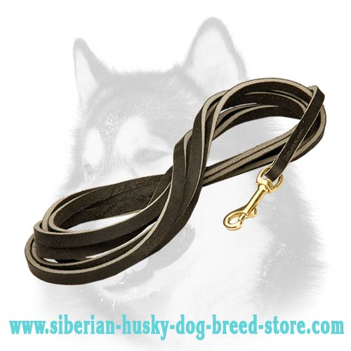 Siberian Husky leather dog leash with durable brass plated snap  hook