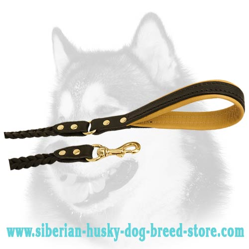 Siberian Husky leather dog leash with brass hardware