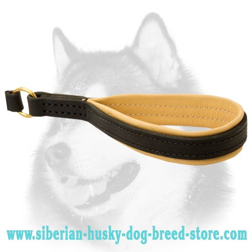 Siberian Husky leather dog leash with padded handle