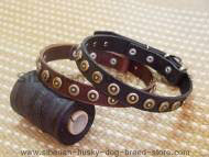 Superb Wide Leather Dog Collar With Doted Circles for Siberian Husky