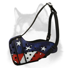 American Flag leather dog muzzle for Siberian Husky