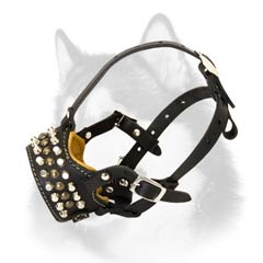 Open nose Siberin Husky leather muzzle