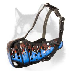 Siberian Husky muzzle with beautiful painting