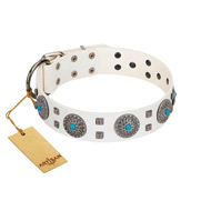 """Blue Sapphire"" Designer FDT Artisan White Leather Siberian Husky Collar with Round Plates and Square Studs"