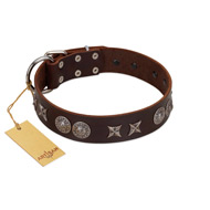 """Antique Style"" Designer Handmade FDT Artisan Brown Leather Siberian Husky Collar"