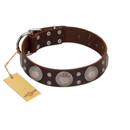 """Imperial Legate"" FDT Artisan Brown Leather Siberian Husky Collar with Big Round Plates"
